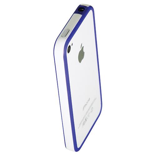 Parechoc rigide d'Exian pour iPhone 4/4s (4G033SP) - Blanc-bleu