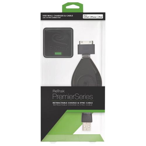 Câble chargement et synchronisation pour iPod/iPhone/iPad et adaptateur mural ReTrak (ETIP30CHGWB)