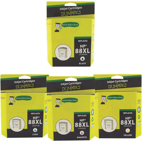 Ink For Dummies HP 88XL CMYK Ink (DH-88XLBK/XLCL-VAL) - 4 Pack