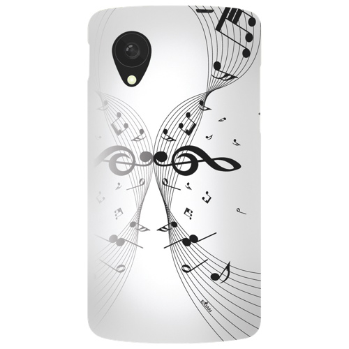Exian LG Nexus 5 Musical Notes Soft Shell Case - White