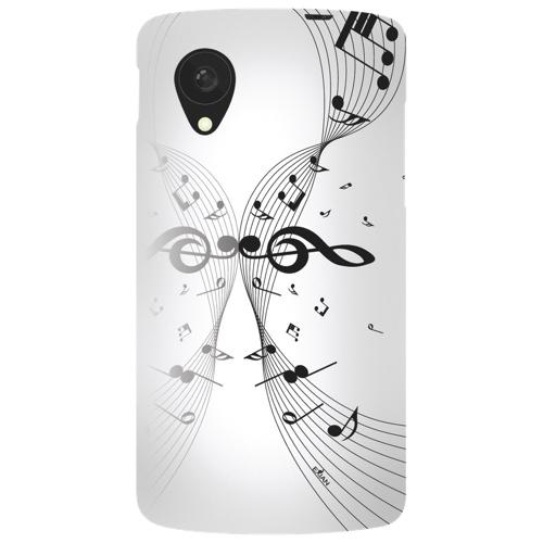 Étui souple Musical Notes d'Exian pour Nexus 5 de LG - Blanc