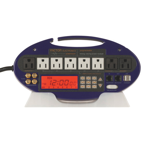 Factor Electronics Timer Controlled 8-Outlet Power Bar (FES-101B) - Blue