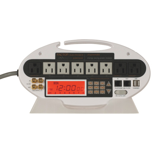 Factor Electronics Timer Controlled 8-Outlet Power Bar (FES-101W) - White