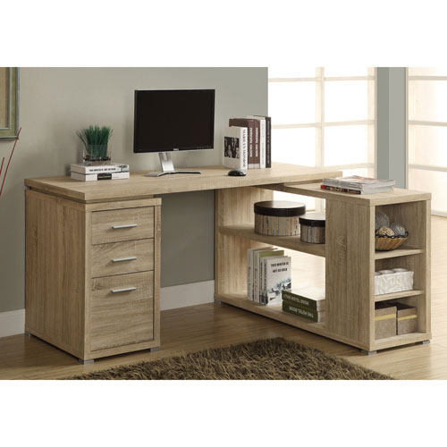 3 drawer corner desk natural desks workstations best buy canada - Corner desks canada ...