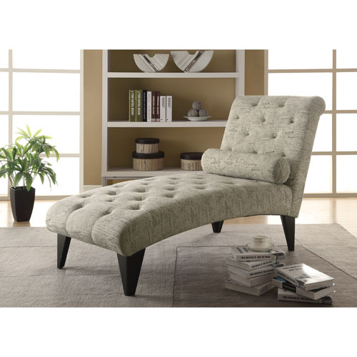 Contemporary Fabric Tufted Chaise Lounger - Beige