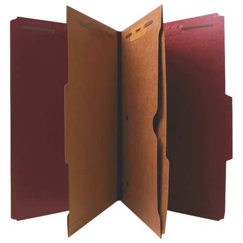 Nature Saver Legal Size Expanding Classification Folder With Pocket Divider (NAT95013)- 10 Pack- Red