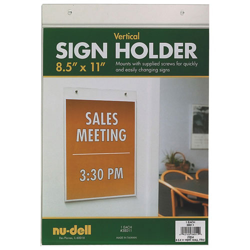 """Nu-Dell 8.5"""" x 11"""" Vertical Wall Sign Holder (NUD38011)"""