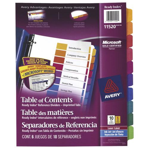 Intercalaires Ready Index avec tables des matières Avery (AVE11520) - Pqt de 6 - Couleurs assorties