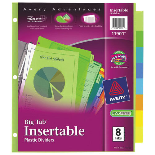 Avery Big Tab Insertable Plastic Tab Dividers (AVE11901) - 8 Tabs - Assorted Colours