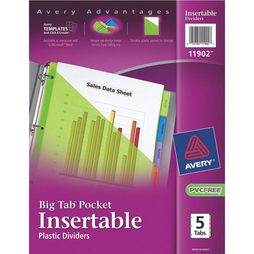 Avery Big Tab Pocket Insertable Plastic Tab Dividers (AVE11902) - 5 Tabs - Assorted Colours