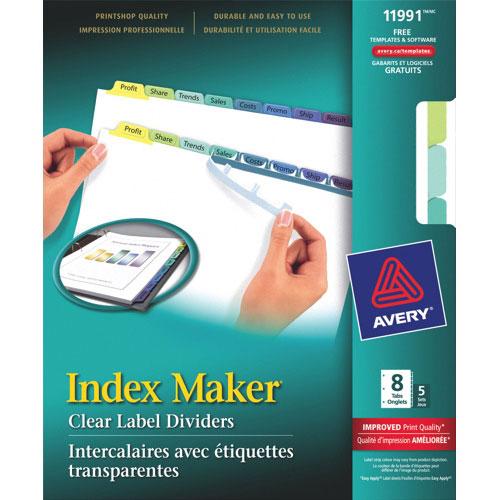 Intercalaires avec étiquettes transparentes Index Maker d'Avery (AVE11991) - Paquet de 5 - Couleurs assorties