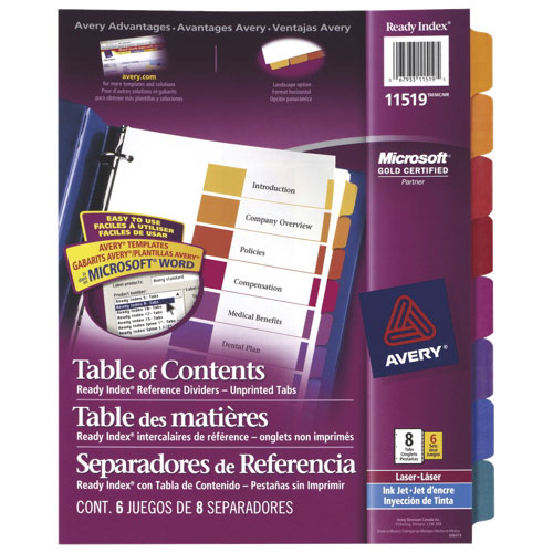 Avery Ready Index Table of Contents Tab Dividers (AVE11519) - 8 Tabs - 6 Pack - Assorted Colours