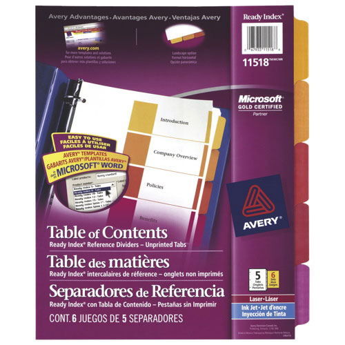 Avery Ready Index Table of Contents Dividers (AVE11518) - 5 Tabs - 6 Pack - Assorted Colours