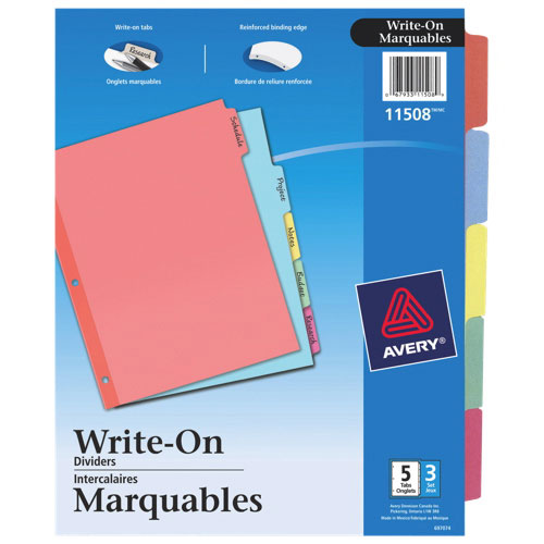 Avery Plain Tab Write-On Dividers (AVE11508) - 5 Tabs - 3 Pack - Assorted Colours