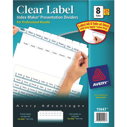 Avery Index Maker Easy Apply Clear Label Dividers (AVE11447) - 8 Tabs - 25 Pack - White