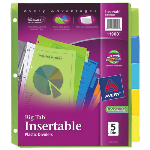 Intercalaires insérables en plastique Big Tab d'Avery (AVE11900) - Couleurs assorties