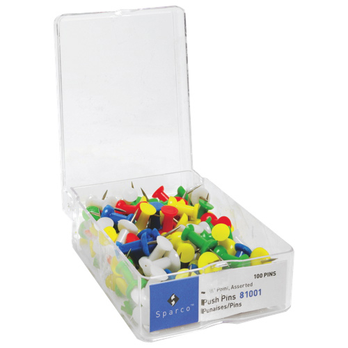 Sparco Assorted Colour Push Pins (SPR81001) - 100 Pack