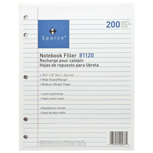 """Sparco 200-Sheet 8"""" x 10.5"""" 5-Hole Punched Lined Paper (SPR81120)"""