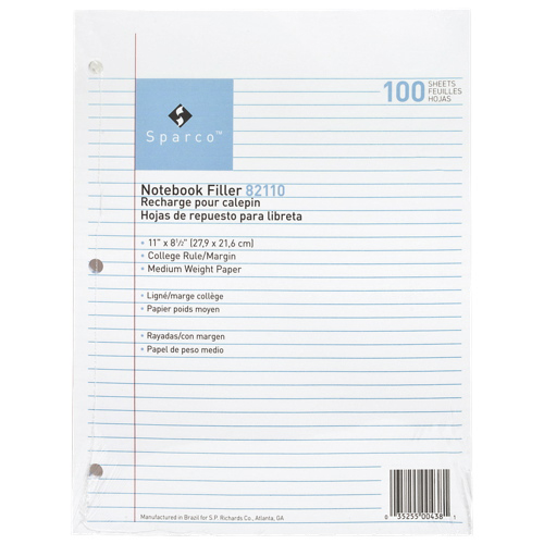 """Sparco 100-Sheet 8.5"""" x 11"""" College Ruled Paper (SPR82110)"""