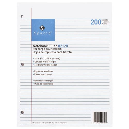 200 feuilles de papier ligné étroit de 8,5 x 11 po de Sparco (SPR82120)