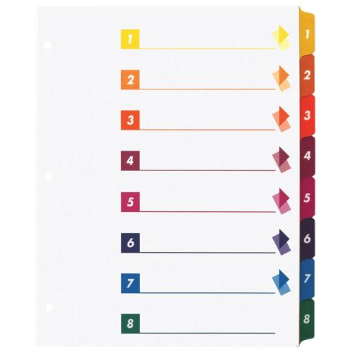 Intercalaires numérotés de 1 à 8 avec table des matières (SPR21909) - Paquet de 24 - Blanc