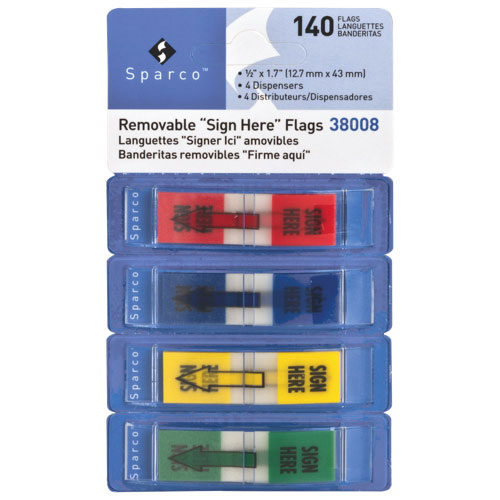 """Sparco 0.5"""" x 1.7"""" Removable """"Sign Here"""" Flags - 4 Pack - 140 Flags - Assorted Colors"""