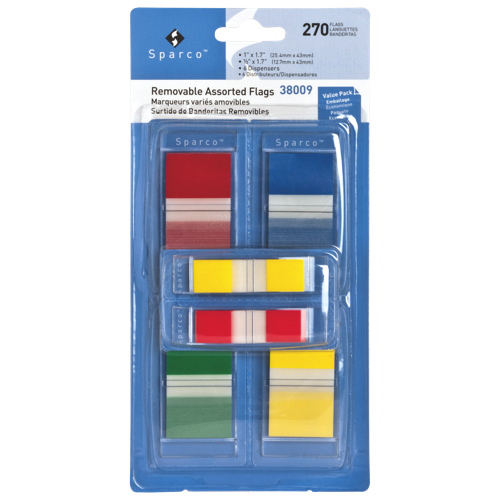Sparco Assorted Removable Flags Combo Kit - 6 Pack - 270 Flags