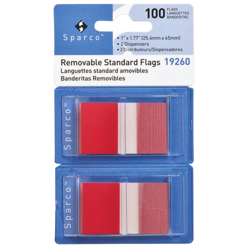 """Sparco 1.77"""" x 1"""" Removable Standard Flags (SPR19260) - 2 Pack - 100 Flags - Red"""
