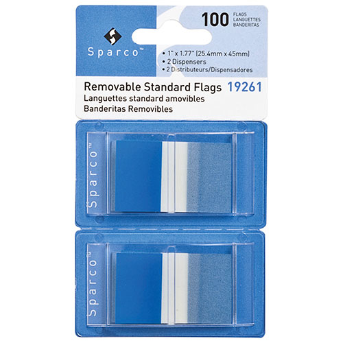 "Sparco 1.77"" x 1"" Removable Standard Flags (SPR19261) - 2 Pack - 100 Flags - Blue"