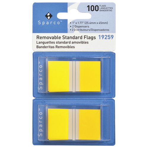 """Sparco 1.77"""" x 1"""" Removable Standard Flags (SPR19260) - 2 Pack - 100 Flags - Yellow"""