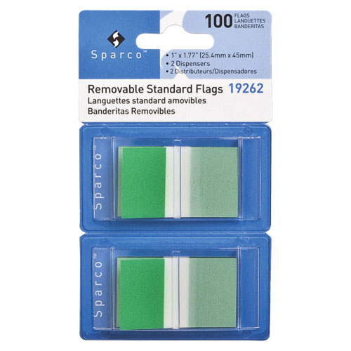 """Sparco 1.77"""" x 1"""" Removable Standard Flags (SPR19260) - 2 Pack - 100 Flags - Green"""