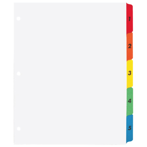 Sparco Index Dividers (SPR21900) - 5 Pack - White