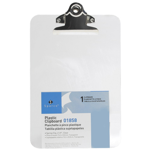 """Sparco 6"""" x 9"""" Plastic Clipboard (SPR01858) - Clear"""