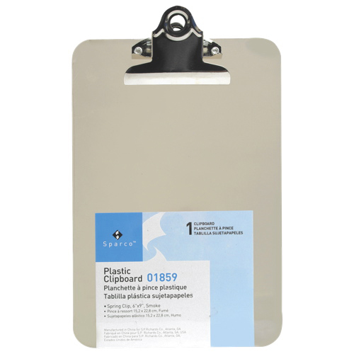 "Sparco 6"" x 9"" Plastic Clipboard (SPR01859) - Smoke"