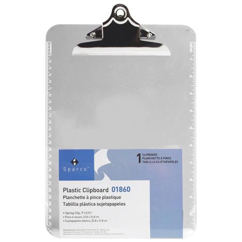 Planchette en plastique 9 po x 12,5 po de Sparco (SPR01860) - Transparent