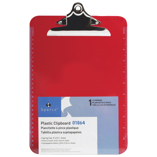 "Sparco 9"" x 12.5"" Plastic Clipboard (SPR01864) - Red"