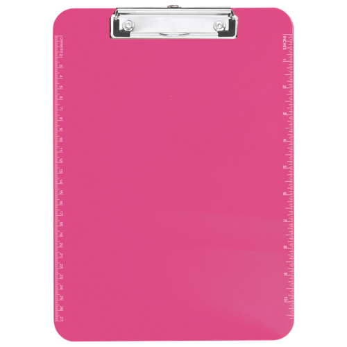 """Sparco 9"""" x 12.5"""" Low Profile Plastic Clipboard (SPR01868) - Pink"""