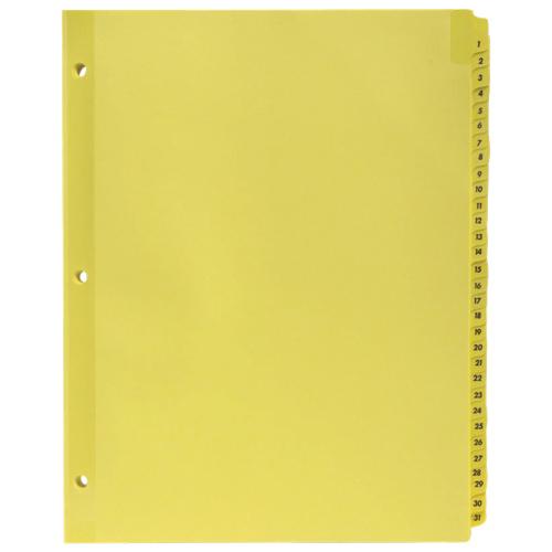 Séparateurs à onglets numérotés de Sparco (SPR01808) - Lettre - Paquet de 31