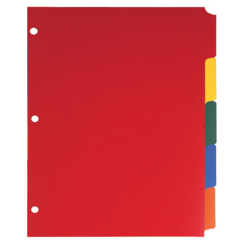 Sparco Non-Insertable Poly Index Dividers (SPR01809) - Letter - 5 Pack - Assorted Colors