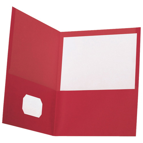 "Oxford 8.5"" x 11"" Twin Pocket Portfolio (ESS00573) - 10 Pack - Red"