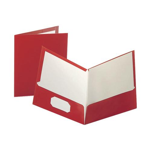 "Oxford 8.5"" x 11"" Twin Pocket Folder (ESS51711) - 25 Pack - Red"