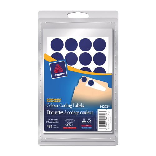 Avery Removable Round Coding Labels (AVE14203) - 480 Pack - Blue