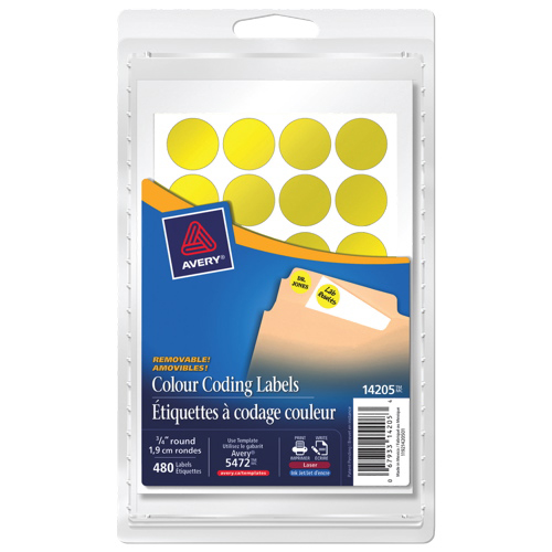 Avery Removable Round Coding Labels (AVE14205) - 480 Pack - Yellow