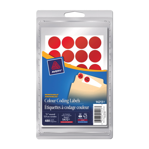 Avery Removable Round Coding Labels (AVE14213) - 480 Pack - Neon Red
