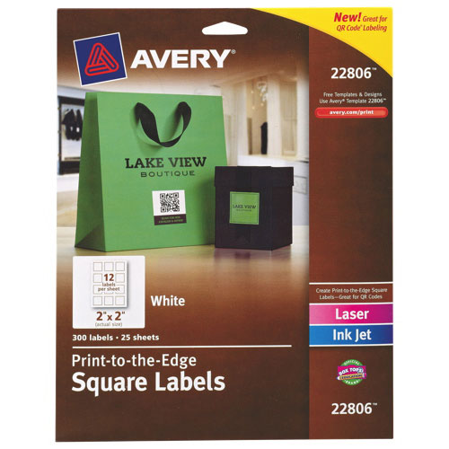 "Avery Easy Peel 2"" x 2"" Print-to-the-Edge Square Label (AVE22806) - 300 Pack - White"