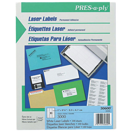 "Avery Pres-A-Ply 1"" x 2-5/8"" Address Label (AVE30600) - 3000 Pack - White"