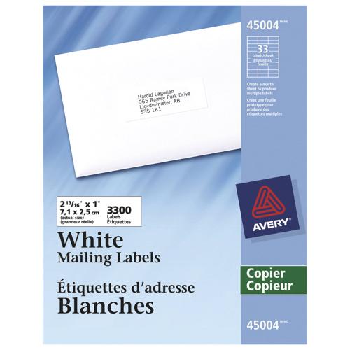 Étiquette d'adresse 2-13/16 po x 1 po d'Avery (AVE45004) - 3300 - Blanc