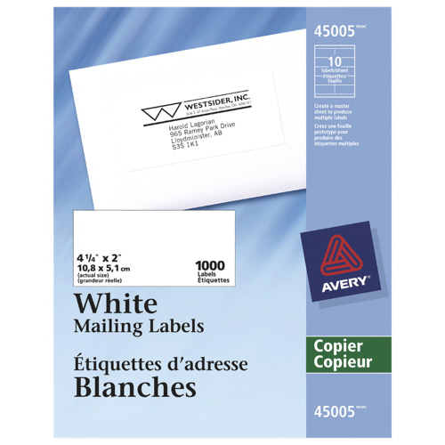 "Avery 4-1/4"" x 2"" Copier Address Label (AVE45005) - 1000 Pack - White"