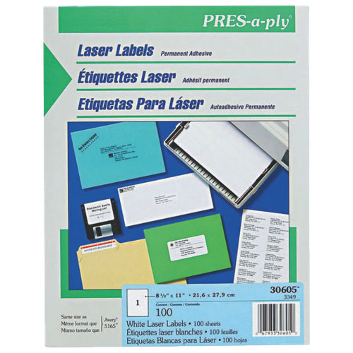 Avery Pres-A-Ply Full Sheet Laser Label (AVE30605) - 100 Pack - White