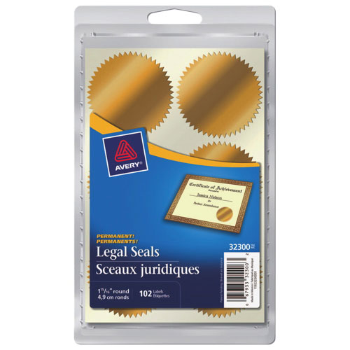 """Avery 1-15/16"""" Round Legal Seals (AVE32300) - 102 Pack - Gold"""